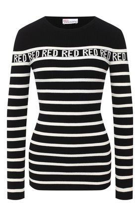 Женская пуловер из вискозы REDVALENTINO черно-белого цвета, арт. UR3KC01M/58H | Фото 1