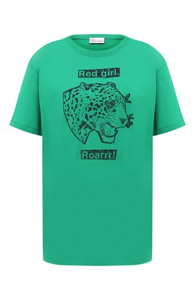 Женская хлопковая футболка REDVALENTINO зеленого цвета, арт. UR3MG07I/5A2 | Фото 1