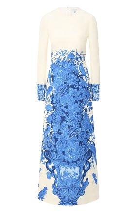 Женское платье из шерсти и шелка VALENTINO голубого цвета, арт. UB3VAJ225LY   Фото 1