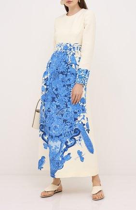 Женское платье из шерсти и шелка VALENTINO голубого цвета, арт. UB3VAJ225LY   Фото 2
