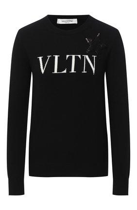 Женский шерстяной пуловер VALENTINO черно-белого цвета, арт. UB3KCB605NT | Фото 1