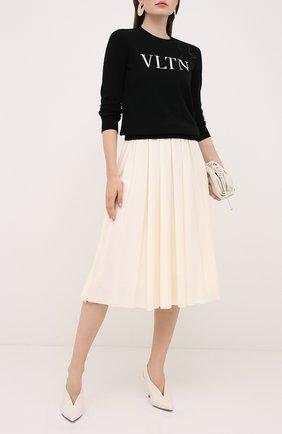 Женский шерстяной пуловер VALENTINO черно-белого цвета, арт. UB3KCB605NT | Фото 2
