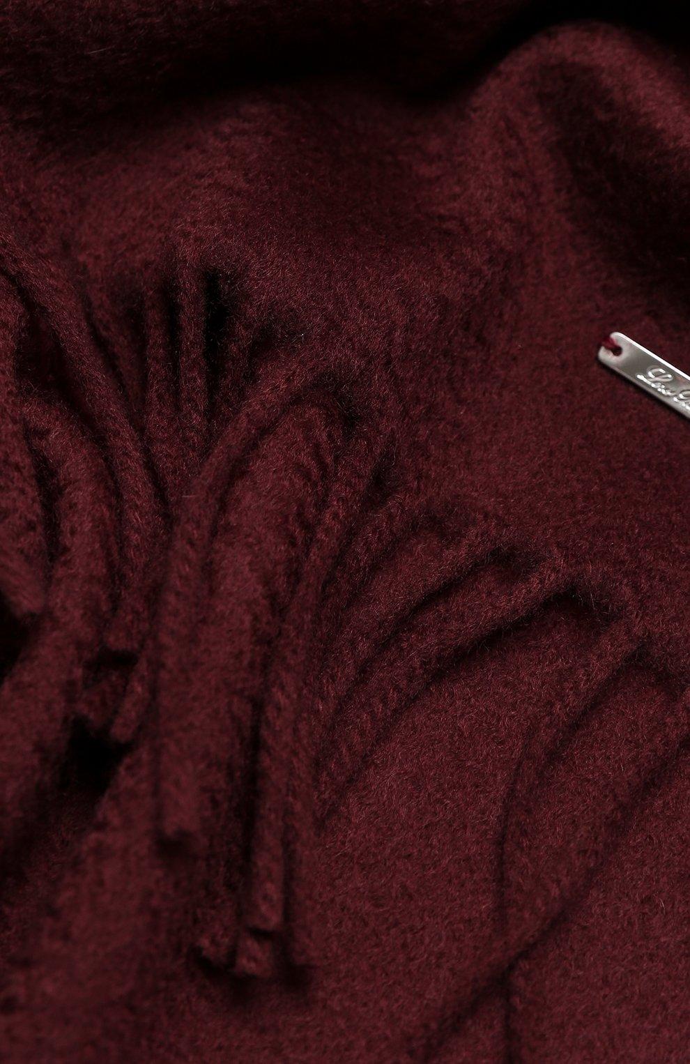 Женский кашемировый шарф grande unita LORO PIANA темно-бордового цвета, арт. FAA1056 | Фото 2 (Материал: Кашемир, Шерсть; Принт: Без принта)