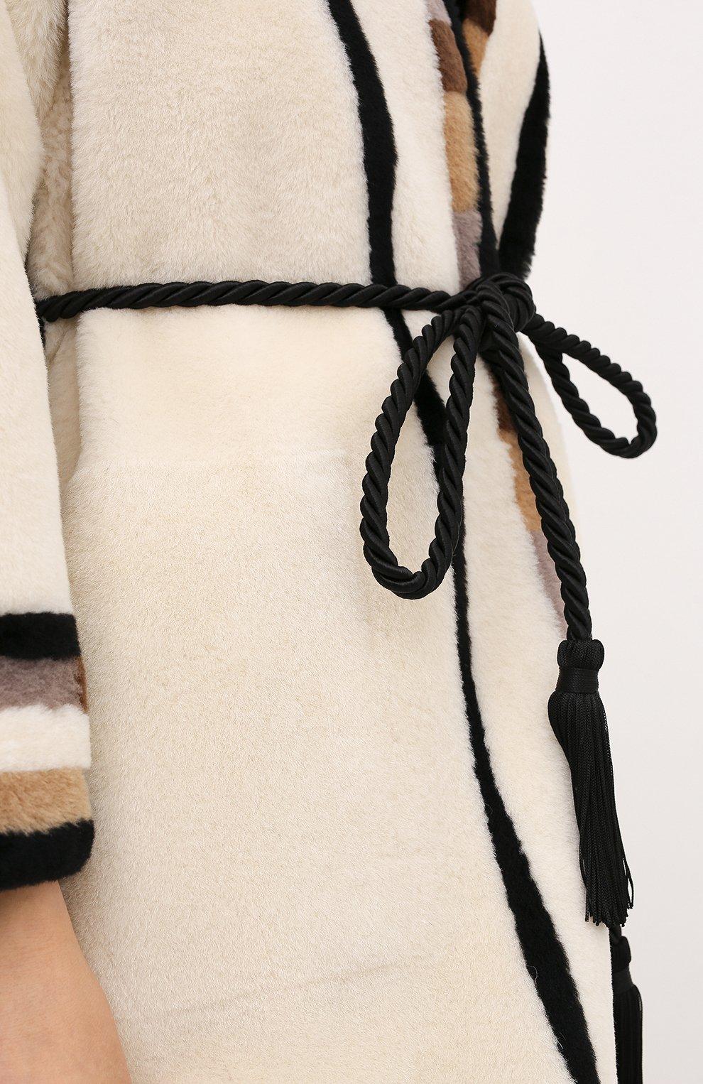 Женская дубленка с поясом BLANCHA светло-бежевого цвета, арт. 20095/300/26/VARIANTE IV0RY | Фото 5 (Женское Кросс-КТ: Мех, Замша и кожа; Рукава: Длинные; Материал внешний: Натуральный мех; Длина (верхняя одежда): До колена)