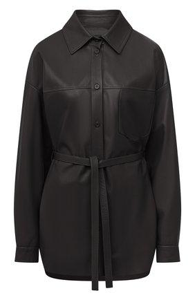 Женская кожаная рубашка DROME черного цвета, арт. DPDA455P/D400P   Фото 1