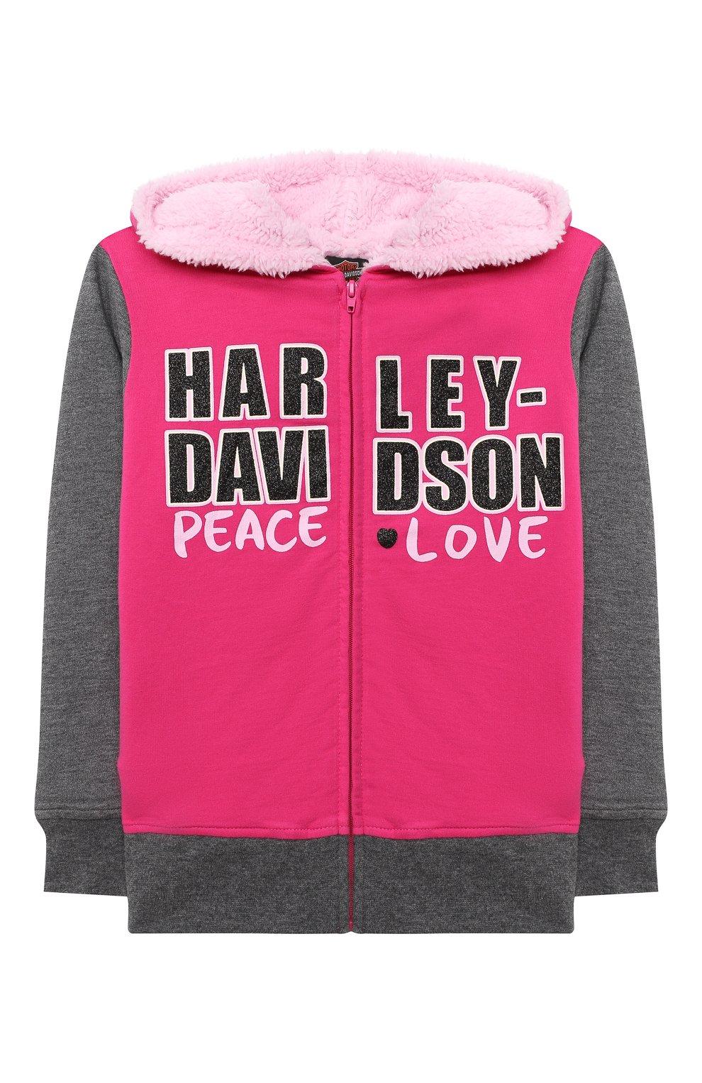 Детский хлопковая толстовка HARLEY-DAVIDSON розового цвета, арт. 6533735   Фото 1 (Рукава: Длинные; Материал внешний: Хлопок; Ростовка одежда: 5 лет   110 см, 6 лет   116 см, 7 лет   122 см)