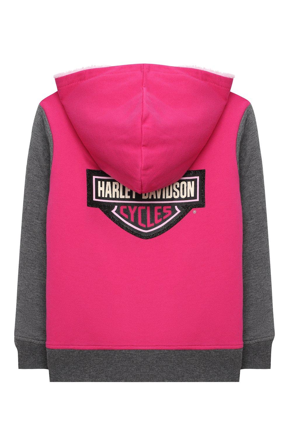Детский хлопковая толстовка HARLEY-DAVIDSON розового цвета, арт. 6533735   Фото 2 (Рукава: Длинные; Материал внешний: Хлопок; Ростовка одежда: 5 лет   110 см, 6 лет   116 см, 7 лет   122 см)
