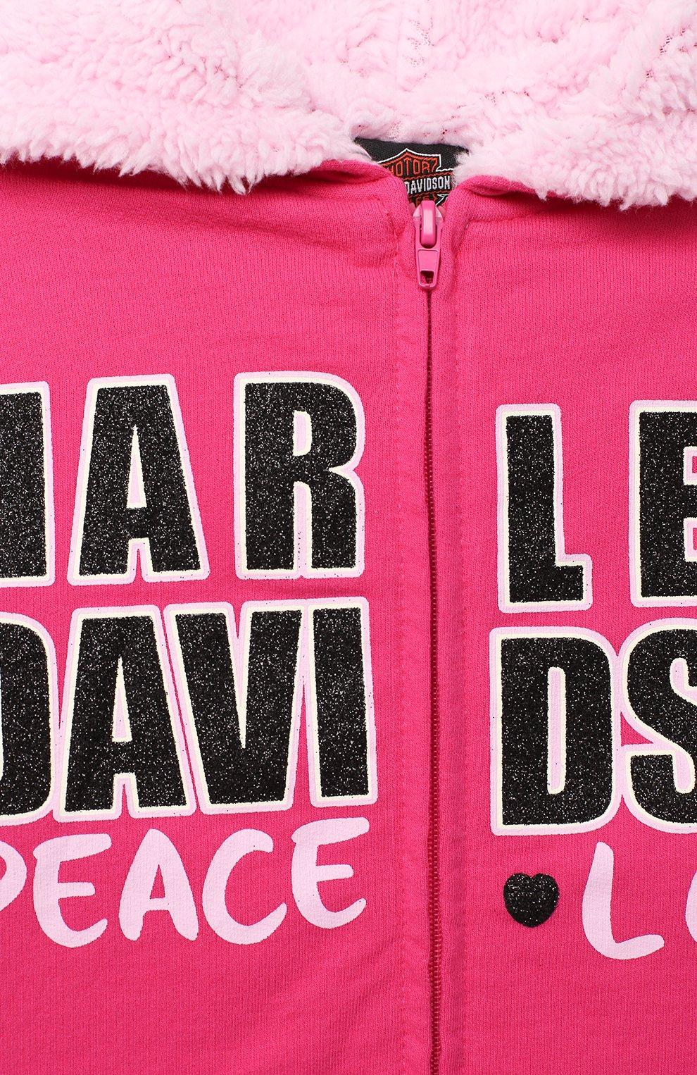 Детский хлопковая толстовка HARLEY-DAVIDSON розового цвета, арт. 6533735   Фото 3 (Рукава: Длинные; Материал внешний: Хлопок; Ростовка одежда: 5 лет   110 см, 6 лет   116 см, 7 лет   122 см)