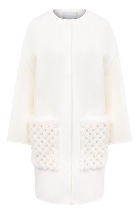 Женское шерстяное пальто VALENTINO белого цвета, арт. UF3FAC60DMF | Фото 1