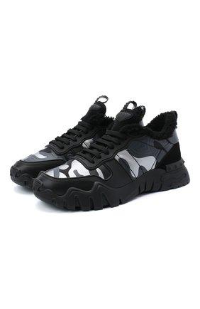 Мужские комбинированные кроссовки valentino garavani rockrunner plus VALENTINO черного цвета, арт. UY2S0C88/YMP | Фото 1