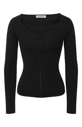 Женская пуловер из вискозы VALENTINO черного цвета, арт. UB3KC16X5RV   Фото 1