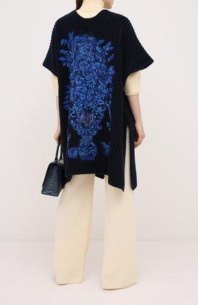 Женская накидка из шерсти и кашемира VALENTINO синего цвета, арт. UB3KSA035N5 | Фото 2