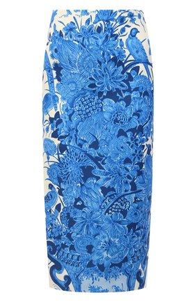 Женская юбка из шерсти и шелка VALENTINO голубого цвета, арт. UB3RA6B65LY | Фото 1