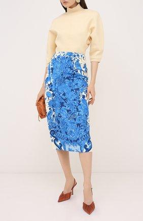 Женская юбка из шерсти и шелка VALENTINO голубого цвета, арт. UB3RA6B65LY | Фото 2