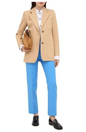 Женские шерстяные брюки VALENTINO голубого цвета, арт. UB3RB3W01CF | Фото 2