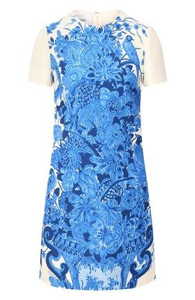 Женское платье из шерсти и шелка VALENTINO голубого цвета, арт. UB3VATD55LY   Фото 1