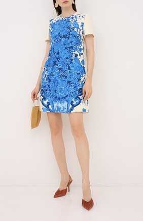 Женское платье из шерсти и шелка VALENTINO голубого цвета, арт. UB3VATD55LY   Фото 2