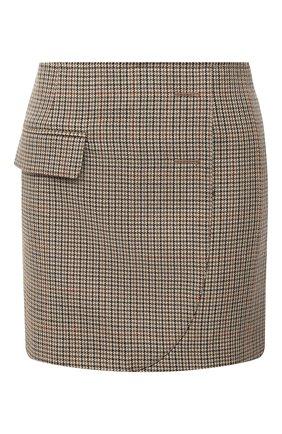 Женская шерстяная юбка VETEMENTS коричневого цвета, арт. WAH21SK031 1206/BR0WN CHECK | Фото 1
