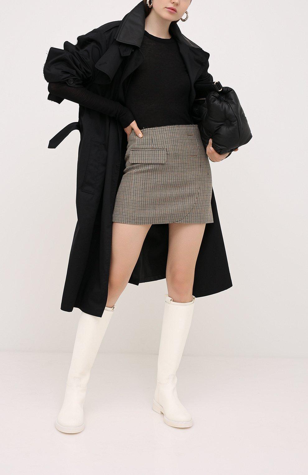 Женская шерстяная юбка VETEMENTS коричневого цвета, арт. WAH21SK031 1206/BR0WN CHECK   Фото 2