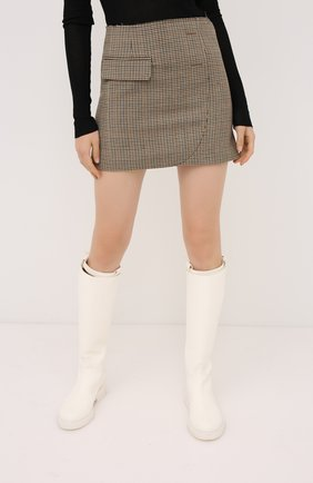 Женская шерстяная юбка VETEMENTS коричневого цвета, арт. WAH21SK031 1206/BR0WN CHECK   Фото 3