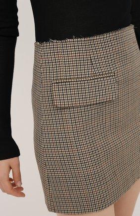 Женская шерстяная юбка VETEMENTS коричневого цвета, арт. WAH21SK031 1206/BR0WN CHECK   Фото 5