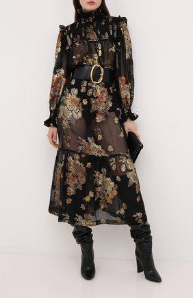 Женская шелковая юбка SAINT LAURENT черного цвета, арт. 618658/Y7A11 | Фото 2