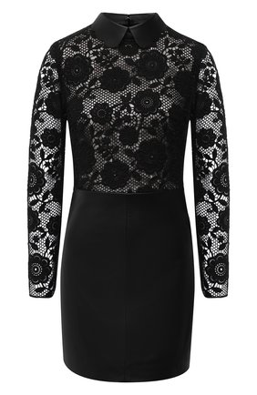 Женское платье из вискозы и кожи REDVALENTINO черного цвета, арт. UR3ND00J/585 | Фото 1