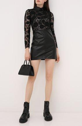 Женское платье из вискозы и кожи REDVALENTINO черного цвета, арт. UR3ND00J/585 | Фото 2