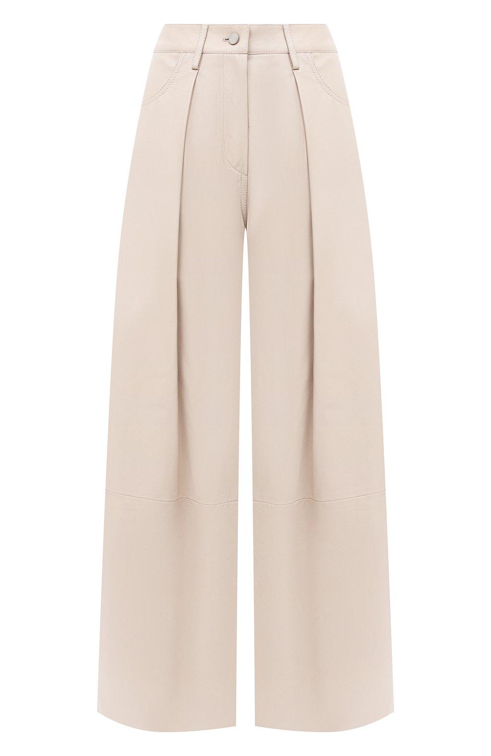 Женские кожаные брюки DROME бежевого цвета, арт. DPD1986P/D400P | Фото 1