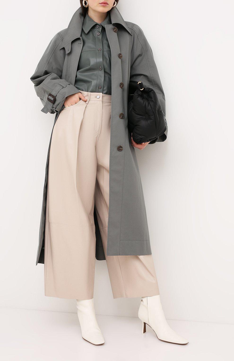 Женские кожаные брюки DROME бежевого цвета, арт. DPD1986P/D400P | Фото 2