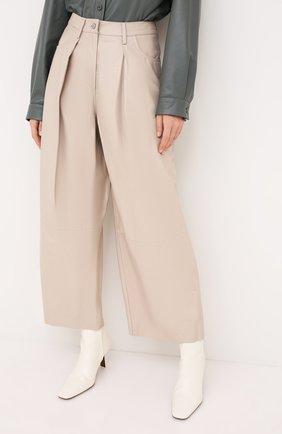 Женские кожаные брюки DROME бежевого цвета, арт. DPD1986P/D400P | Фото 3