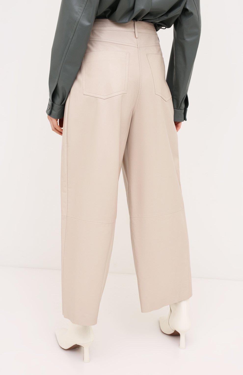 Женские кожаные брюки DROME бежевого цвета, арт. DPD1986P/D400P | Фото 4