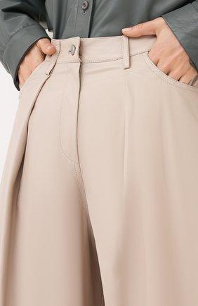 Женские кожаные брюки DROME бежевого цвета, арт. DPD1986P/D400P | Фото 5