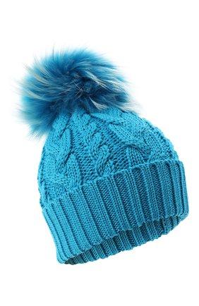 Детского шерстяная шапка с меховым помпоном CATYA голубого цвета, арт. 024648 | Фото 1