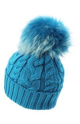 Детского шерстяная шапка с меховым помпоном CATYA голубого цвета, арт. 024648 | Фото 2