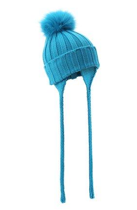 Детского шерстяная шапка с меховым помпоном CATYA голубого цвета, арт. 024636/A | Фото 1