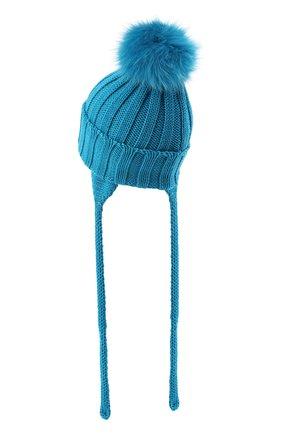 Детского шерстяная шапка с меховым помпоном CATYA голубого цвета, арт. 024636/A | Фото 2