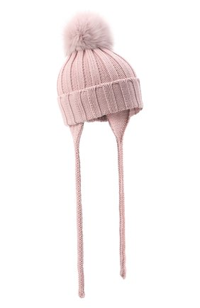 Детского шерстяная шапка с меховым помпоном CATYA розового цвета, арт. 024636/A | Фото 1