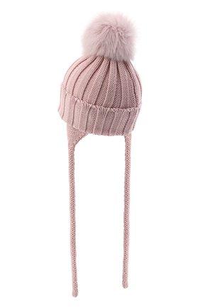 Детского шерстяная шапка с меховым помпоном CATYA розового цвета, арт. 024636/A | Фото 2