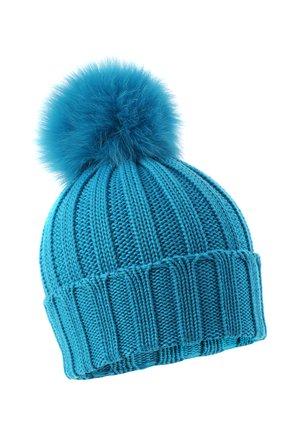 Детского шерстяная шапка с меховым помпоном CATYA голубого цвета, арт. 024636 | Фото 1