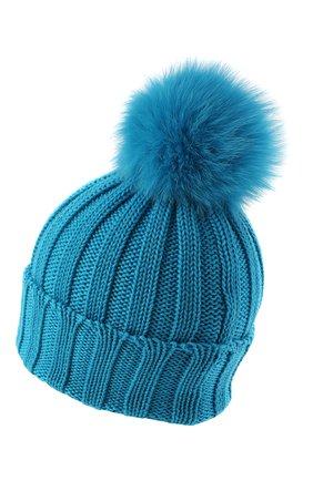 Детского шерстяная шапка с меховым помпоном CATYA голубого цвета, арт. 024636 | Фото 2