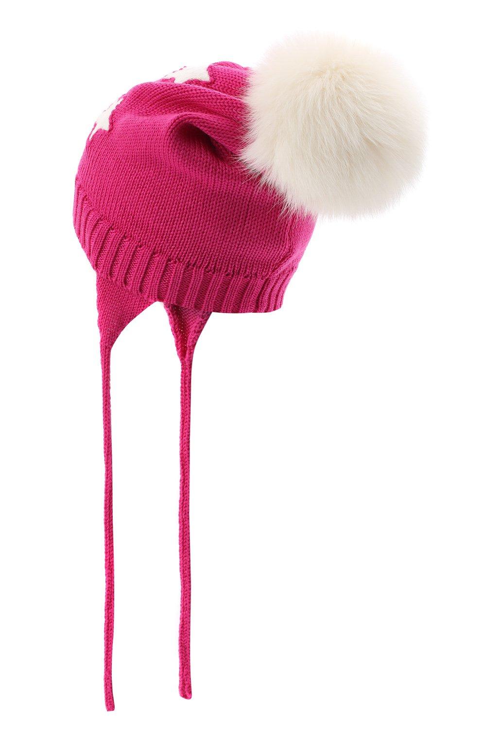 Детского шерстяная шапка с меховым помпоном CATYA фуксия цвета, арт. 024624/A | Фото 2