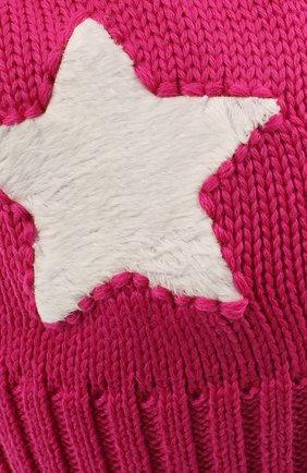 Детского шерстяная шапка с меховым помпоном CATYA фуксия цвета, арт. 024624   Фото 3
