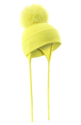 Детского шерстяная шапка с меховым помпоном CATYA желтого цвета, арт. 024621/A | Фото 1