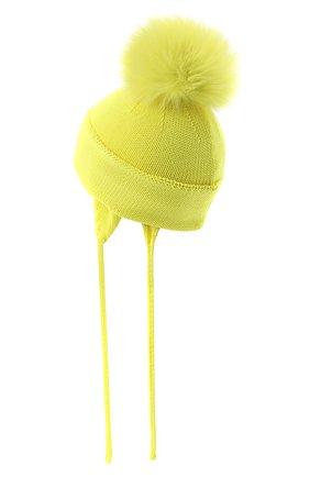 Детского шерстяная шапка с меховым помпоном CATYA желтого цвета, арт. 024621/A | Фото 2