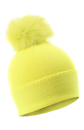 Детского шерстяная шапка с меховым помпоном CATYA желтого цвета, арт. 024621 | Фото 1