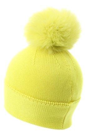 Детского шерстяная шапка с меховым помпоном CATYA желтого цвета, арт. 024621 | Фото 2