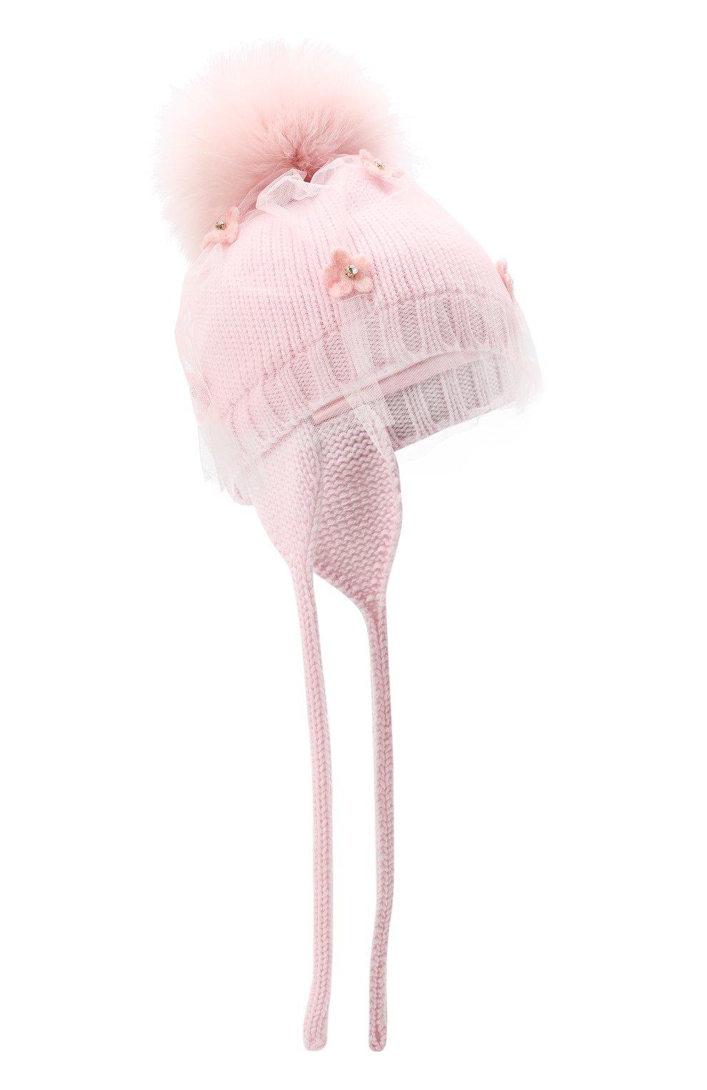 Детского шерстяная шапка с меховым помпоном CATYA розового цвета, арт. 024660/AJ | Фото 1