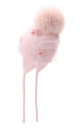 Детского шерстяная шапка с меховым помпоном CATYA розового цвета, арт. 024660/AJ | Фото 2