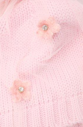 Детского шерстяная шапка с меховым помпоном CATYA розового цвета, арт. 024660/AJ | Фото 3